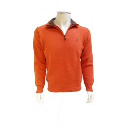 Pull Col Zip Lambswool Orange BANDE ORIGINALE