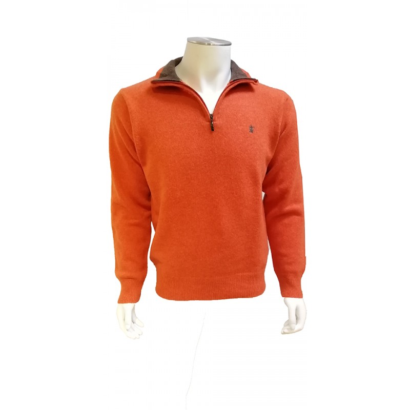 Pull Col Zip Lambswool Orange BANDE ORIGINALE
